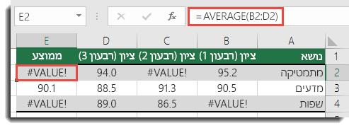 #VALUE! שגיאה בממוצע