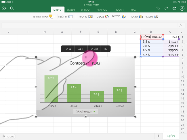 העתקת תרשים מ- Excel for iPad