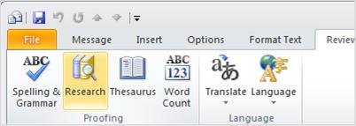 לחצן 'מחקר' ברצועת הכלים של Outlook