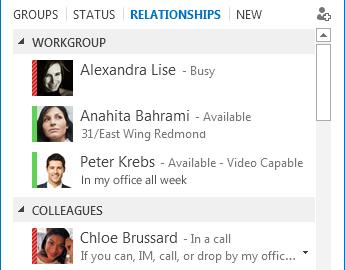 संबंध के अनुसार संपर्कों को सॉर्ट करने का स्क्रीन शॉट
