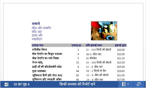 Word Web App में प्रदर्शित की गई उत्पाद कैटलॉग की एक एम्बेडेड PDF फ़ाइल