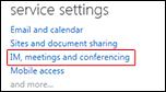 हाइलाइट किए गए IM, मीटिंग्स और कॉन्फ़्रेंसिंग वाले व्यवस्थापन डैशबोर्ड सेवा सेटिंग्स फलक का स्क्रीनशॉट. संबंधित मदद विषय खोलने के लिए क्लिक करें.