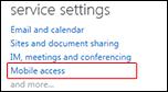 हाइलाइट की गई मोबाइल पहुँच वाले व्यवस्थापन डैशबोर्ड सेवा सेटिंग्स फलक का स्क्रीनशॉट. संबंधित मदद विषय खोलने के लिए क्लिक करें.