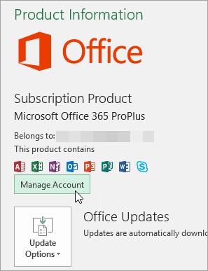 Office डेस्कटॉप अनुप्रयोग में खाता पृष्ठ पर खाता प्रबंधित करें का चयन करते हुए स्क्रीन शॉट