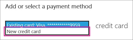 """""""भुगतान पद्धति जोड़ें या चयन करें"""" के अंतर्गत ड्रॉप डाउन मेनू दिखा रहा स्क्रीनशॉट"""
