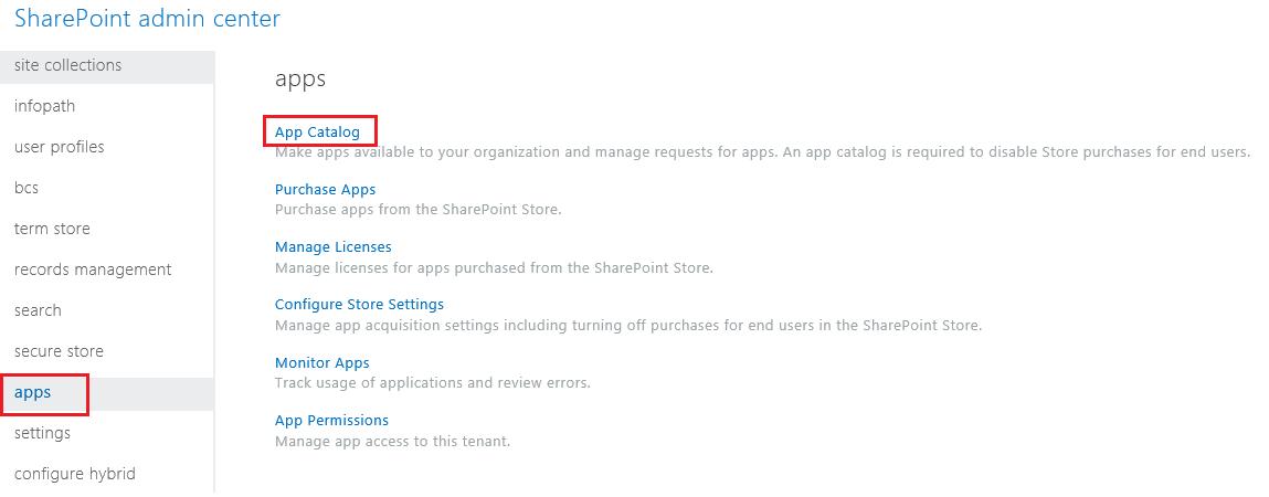 SharePoint व्यवस्थापन केंद्र ऐप श्रेणियों का स्क्रीनशॉट.