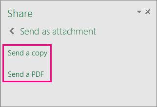 Windows के लिए Excel 2016 में attatchment विकल्पों को दिखाता है