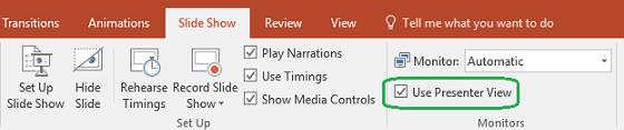 प्रस्तुतकर्ता दृश्य उपयोग किया जाता है जब आप अन्य लोगों के लिए कोई प्रस्तुति दिखाते हैं कि क्या कोई चेक बॉक्स नियंत्रण के लिए PowerPoint में स्लाइड शो टैब है।