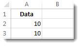 किसी Excel कार्यपत्रक में A2 और A3 कक्षों में डेटा