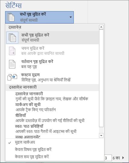 अतिरिक्त विकल्प दिखाने के लिए विस्तृत सभी पृष्ठों को मुद्रित करें मेनू के साथ मुद्रण फलक का स्क्रीनशॉट।