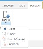 प्रकाशित करें टैब का स्क्रीनशॉट, जिसमें प्रकाशित, अप्रकाशित और अनुमोदन के लिए प्रकाशन पृष्ठ को सबमिट करने के लिए बटन शामिल हैं