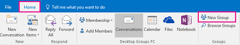 New Group button on the Groups ribbon in Outlook