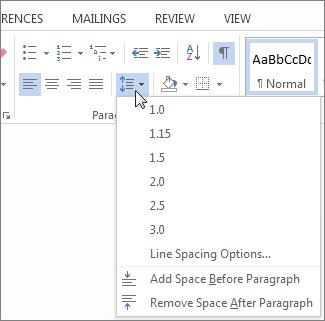 पंक्ति और अनुच्छेद रिक्ति मेनू दिखाता हुआ Word में, मुख पृष्ठ टैब का स्क्रीनशॉट।