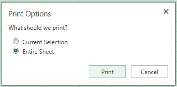 फ़ाइल > मुद्रण पर क्लिक करने के बाद मुद्रण विकल्प