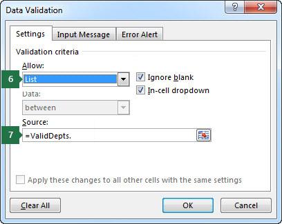 Excel में सेटिंग्स टैब में इस ड्रॉप-डाउन सूची के लिए सेटिंग्स चुनें
