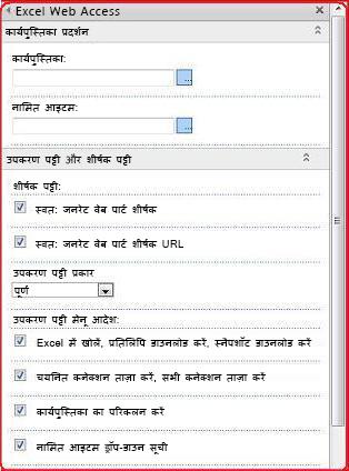 उपकरण फलक में Excel Web Access वेब पार्ट के लिए गुणों का चयन करें और दर्ज करें.