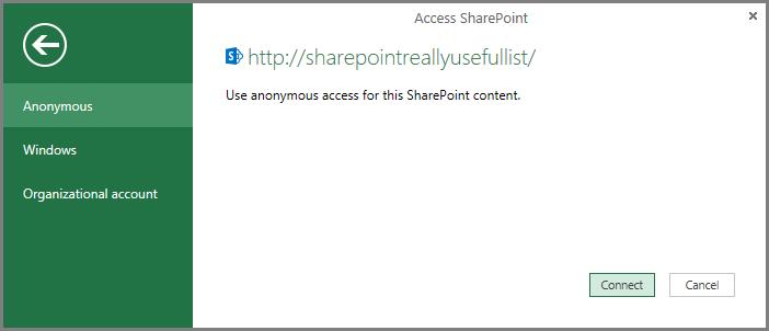 SharePoint सूची के लिए क्रेडेंशियल्स