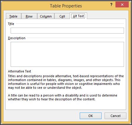 तालिका गुण संवाद बॉक्स में वैकल्पिक पाठ टैब