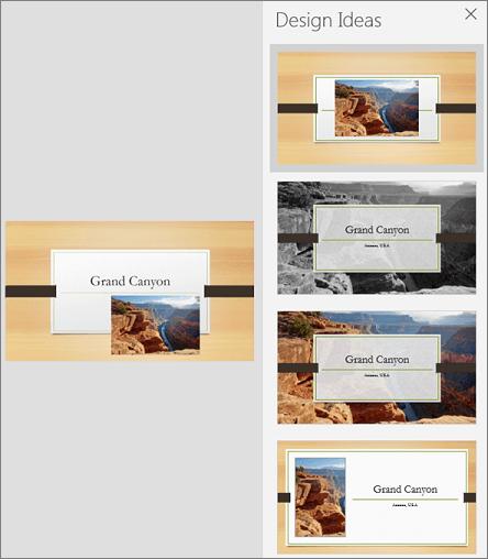 PowerPoint डिज़ाइनर का मोबाइल संस्करण का उदाहरण