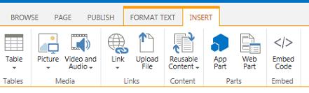 सम्मिलित करें टैब का स्क्रीनशॉट, जिसमें तालिकाएँ, वीडियो, ग्राफ़िक्स को सम्मिलित करने के लिए बटन, और आपके साइट पृष्ठों के लिंक शामिल होते हैं