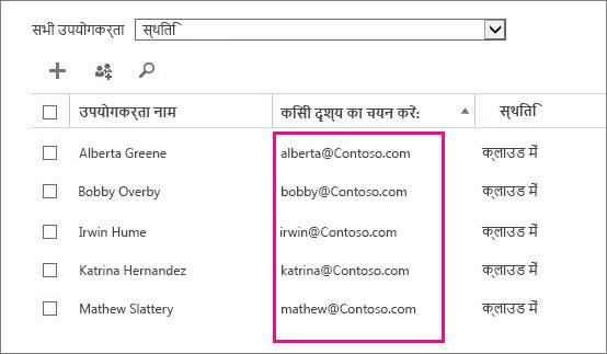 Office 365 व्यवस्थापन केंद्र में उपयोगकर्ता नाम स्तंभ.