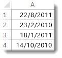 किसी कार्यपत्रक में सॉर्ट नहीं किए गए दिनांक