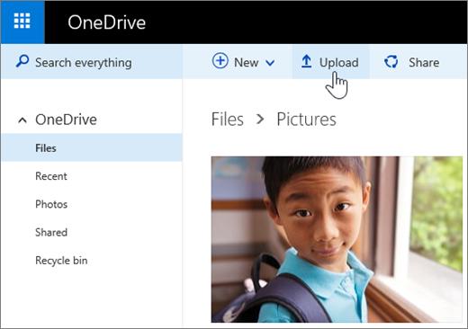 OneDrive.com अपलोड