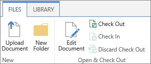 फ़ाइलें रिबन के खोलें और चेक आउट अनुभाग के अंतर्गत बटंस का क्लस्टर
