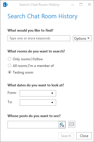 चैट रूम के इतिहास को ब्राउज़ करने के लिए संवाद बॉक्स का स्क्रीनशॉट