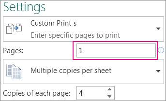 मुद्रित करें पृष्ठ बॉक्स, सेट करें कौन से पृष्ठ मुद्रित करने हैं.