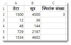 स्तंभ B में परिणाम के साथ, कक्ष C2 द्वारा गुणा किया गया स्तंभ A