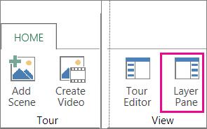 Power Map मुख पृष्ठ टैब पर परत फलक बटन