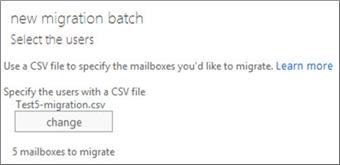 CSV फ़ाइल के साथ नया माइग्रेशन बैच