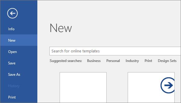 Word 2016 में फ़ाइल > नई स्क्रीन दिखाता है