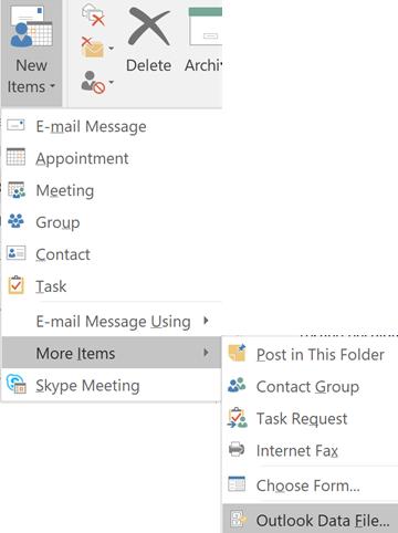 कोई नई Outlook डेटा फ़ाइल बनाएँ
