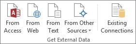 डेटा टैब पर बाहरी डेटा प्राप्त करें समूह