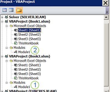 VBA प्रोजेक्ट एक्सप्लोरर