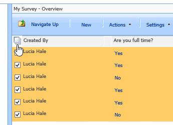 साइट प्रबंधक स्क्रीन में, सभी का चयन करें चिह्न के साथ चयनित, सर्वेक्षण पर क्लिक करें।