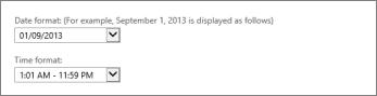 Outlook Web App दिनांक और समय स्वरूप सेटिंग्स