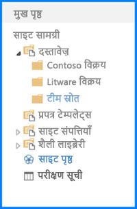 SharePoint पर त्वरित लॉन्च पर ट्री दृश्य में प्रदर्शित दस्तावेज़ लाइब्रेरी का स्क्रीनशॉट. त्वरित लॉन्च को ट्री दृश्य दिखाने के लिए कॉन्फ़िगर किया गया है
