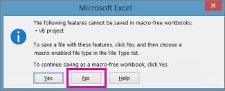 मैक्रोज़ या VBA कोड वाली कार्यपुस्तिका