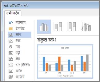 चार्ट विकल्प और पूर्वावलोकन दिखाता हुआ चार्ट सम्मिलित करें संवाद बॉक्स