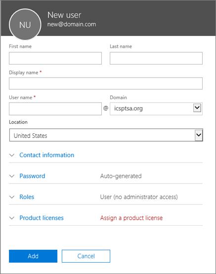 व्यवसाय के लिए Office 365 में आपके द्वारा उपयोगकर्ता जोड़े जाने पर भरने के फ़ील्ड का स्क्रीनशॉट