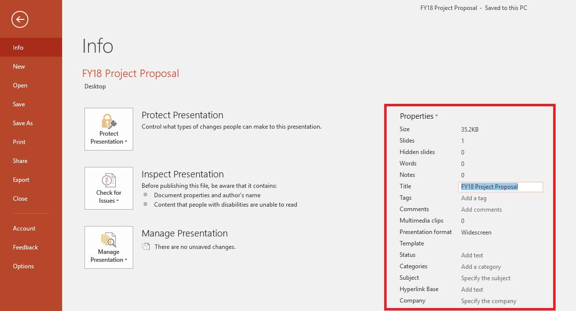 Office दस्तावेज़ गुण - फ़ाइल > जानकारी पैनल