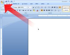 Microsoft Office बटन की ओर इंगित करता हुआ तीर