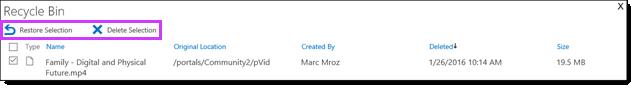 Office 365 वीडियो को पुनर्स्थापित करना या किसी वीडियो को हटाना