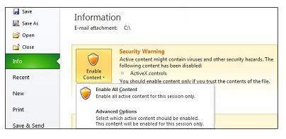 किसी फ़ाइल के विश्वसनीय नहीं हो सकने पर सुरक्षा चेतावनी क्षेत्र