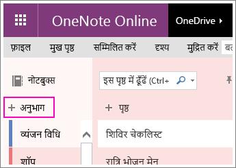 OneNote Online में कोई नया अनुभाग बनाने के तरीके का स्क्रीनशॉट.
