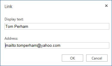 ईमेल पते के लिए हाइपरलिंक सम्मिलित करें