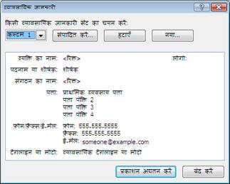 Publisher 2010 में व्यावसायिक जानकारी सेट संपादित करना